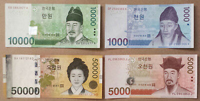 Complete Set of  UNC & CIR South Korea Korean Won 4 Banknotes Paper money