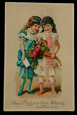 Victorian Tradecard NIAGARA CORN STACH Two Adorable Little Girls Bouquet & Card