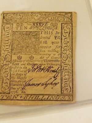 us colonial currency Delaware 10 shilling note January 1 1776