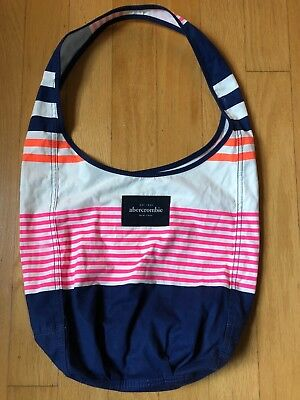 Abercrombie Girls Navy, Hot Pink, Cream, Bright Orange Stripe Summer Tote Bag