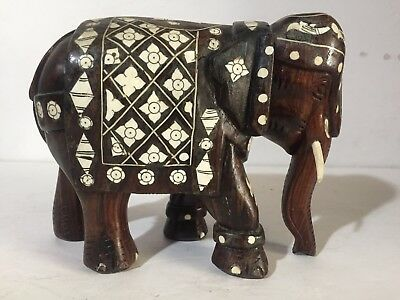 ANTIQUE Anglo-Indian WOOD Carved bovine bone inlay Elephant mughal statue 19th c