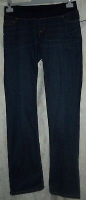 nwt denim liz lange dark wash maternity jeans size 8 stretch underbelly band