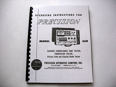 Manual: Precision PACO 660 Tube Tester Instructions Schematic Tube Data & MORE!