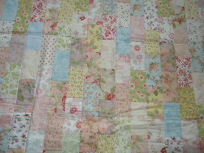 "NEW- Attractive Handmade, Floral, Patchwork Quilt -48"" square. Beautiful tonings"