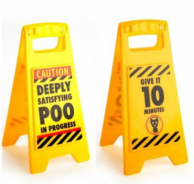 44987 Caution Deeply Satisfying Poo In Progress Double Sided Mini Warning Sign