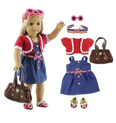 Lot 6 PCS Fashion Casual Wear Outfit for 18 Inch American Girl Gifts for Kids A2