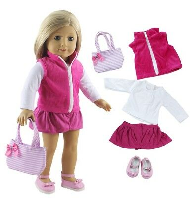5 PCS Fashion Pink Casual Wear Outfit for 18 Inch American Girl Gifts for Kids