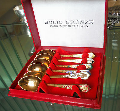 Boxed Set Siamese Solid Bronze-Enamelled Spoons-Colours Various