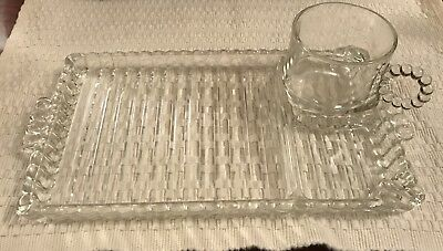 HAZEL ATLAS set of 4 Boopie Glass Orchard Crystal Snack Set Smoke Trays and cups