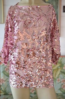 Vintage pink sequin top size 14 to size 16 ladies womens shirt sequins evening