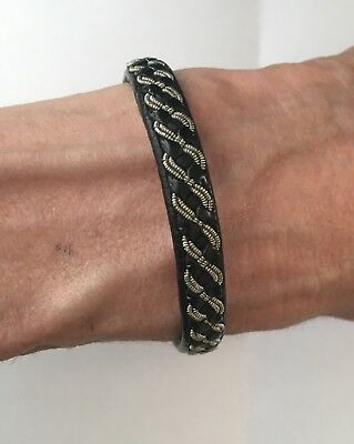 Handmade Leather Bracelet With Pewter And Silver Thread - Lappland Craft Sz M