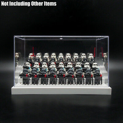 UK White Acrylic Display Case Box Perspex 4 Step For Minifigures Building Blocks
