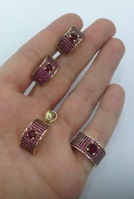 925 Sterling Silver Handmade Jewelry Micro Pave Ruby Ladies Set