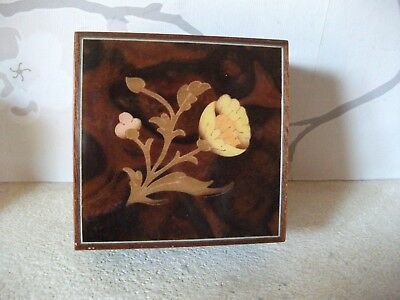 """Vintage  Sorrento small wooden box 3 x 3 x 2.5"""" floral inlay"""