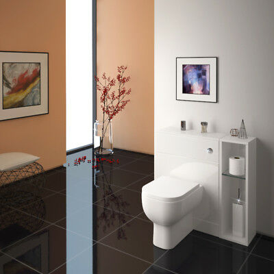 Bathroom Fitted Furniture 800mm Patello BTW Storage Unit White with-out Toilet