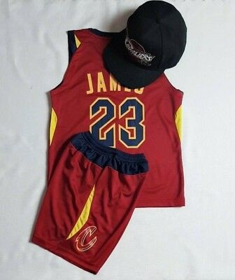 New Basketball Hat Kids Jersey Cleveland Cavaliers # 23 Le Bron JAMES Set + Cap