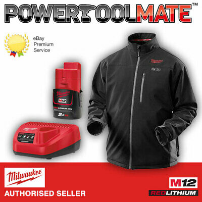 Milwaukee M12HJBL3-201 Black Heated Insulated Jacket (ExLarge) + Charger + M12B2