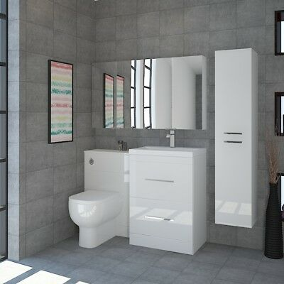 Bathroom Fitted Furniture 1200mm Patello Unit White with Double Mirror Suite