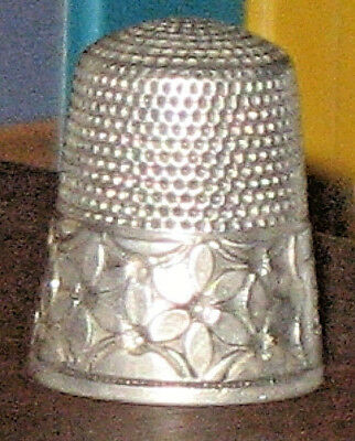 "Antique Simon Brothers. Sterling Silver  Thimble Sewing Size 13 ""S"" Shield"