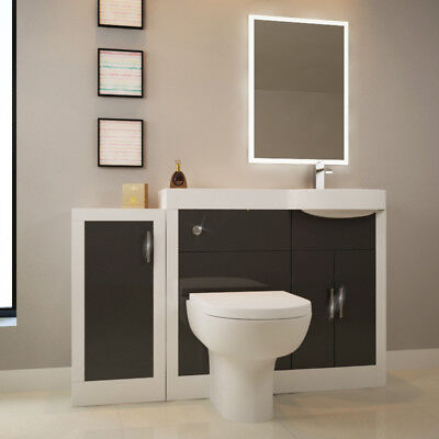 Bathroom Fitted Furniture Apollo 1400mm Unit White Grey with Toilet & Mirror RH