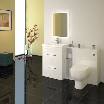 Bathroom Fitted Furniture 1400mm Patello Basin BTW Unit White with Toilet