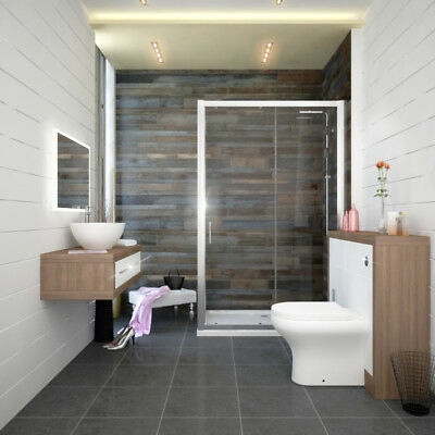 Bathroom Fitted Furniture 900mm Lucido Unit Walnut White with 1200 Shower Suite