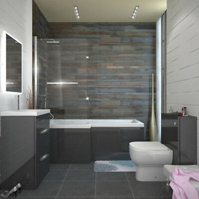 Complete Bathroom Fitted Furniture Patello Bath BTW Suite with Toilet Grey LH
