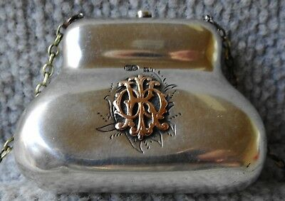 antique Russian 84 Silver coin purse, MOSCOW 1882 1899 has 14kt Gold Initial K