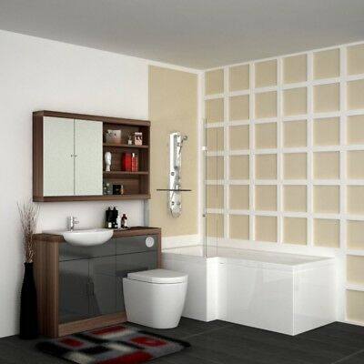 Complete Bathroom Shower Bath Suite with Vanity Unit Walnut & Silver and Tap LH