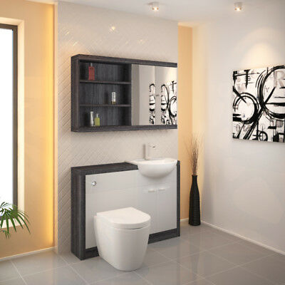 Bathroom Fitted Furniture 1200mm Hacienda Unit Set Grey White with Toilet