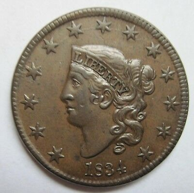 1834 Coronet Head Large Cent - Small 8 Large Stars - AU+++
