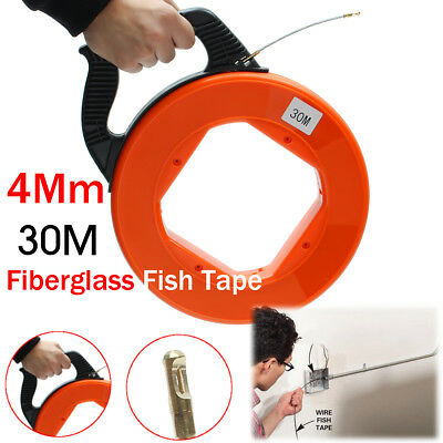 30M 98.4FT FL8030 Plastic Fiberglass Fish Tape Case for Pulling Wire & Cable