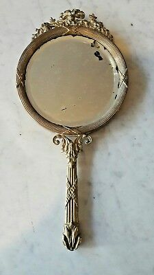 Nice Antique French Empire Style Gilt Bronze Hand Mirror