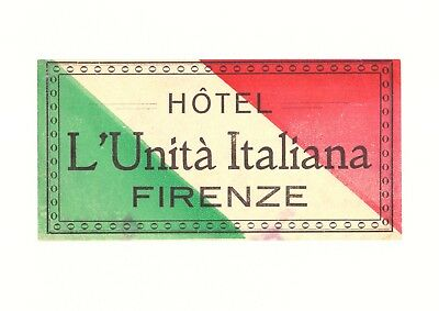 Hotel L'Unitá Italiana Firenze Italy Luggage Label
