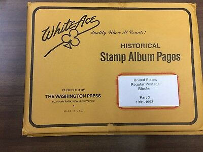 WHITE ACE U.S. Regular Postage Blocks of Four Pages Part 3 From 1991-1998, NEW!!