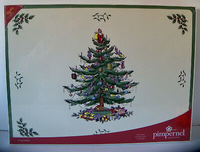 """Spode Pimpernel Set of 4 Placemats 16"""" x 12"""" CHRISTMAS TREE Cork Back New in Box"""