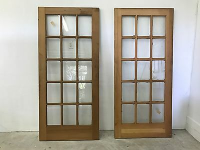 Pair Vintage SOLID wood 15 WINDOW PANE French DOORS 80 X 36 1/4 NEVER installed
