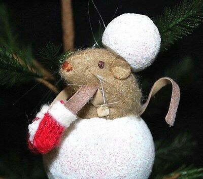 Snowball MOUSE w/ Mittens - Christmas Ornament - Hangs or Sits