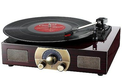 Vinyl Turntable LuguLake 3-Speed Built-In Bluetooth Speakers Record Player LP