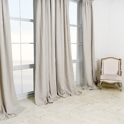 BEST Quality 100% Linen Blackout Thermal PALE Grey 2.75m LONG 2.05mWide CURTAINS