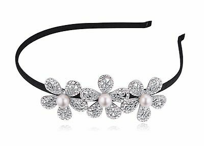 Women's Wedding Crystal Bridal Flower & Leaves Tiara Headdress Crown Head... New