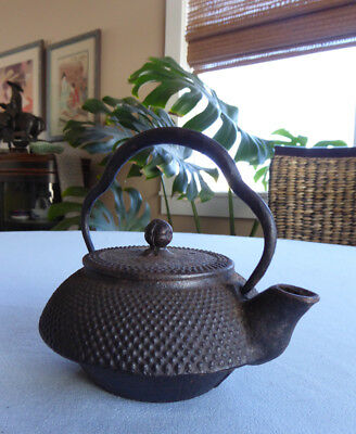 #162 Small Japanese Cast Iron Tetsubin, Teapot, Arare, Signed