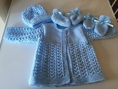 New Handknitted Blue 4 Piece Matinee Set 0-3months