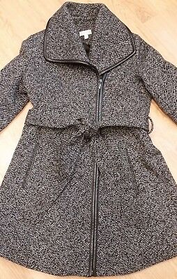 Pea In A Pod Wool Wrap Maternity Coat with faux leather trim, Size Small