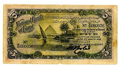 Egypt ... P-13 ... 5 Pounds ... 1918 ... *VG-F*.