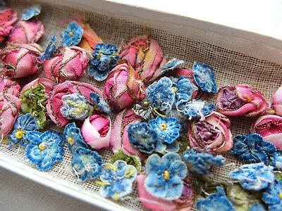 Box antique 1920s  pink ribbon roses and blue forget-me-knot flower decorations