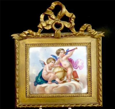 n501 ANTIQUE 19TH CENTURY FRENCH SEVRES STYLE PORCELAIN PANEL CHERUBS