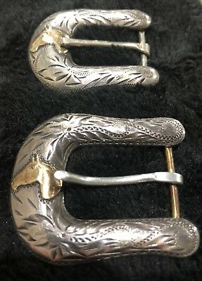 2 Sterling Vintage Don Ricardo Belt Buckles With Gold Horse Heads On Each