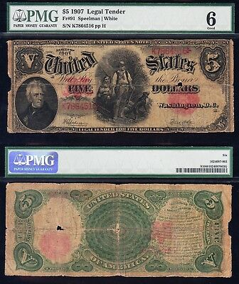 "Affordable $5 1907 ""WOODCHOPPER"" US Note! PMG 6! FREE SHIPPING! K7864516"