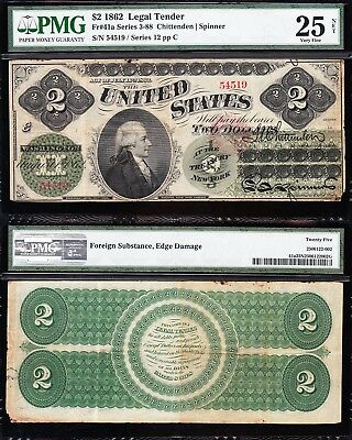 "VERY NICE *RARE* Bold VF 1862 $2 ""GREENBACK"" Legal Tender Note! PMG 25/n! 54519"